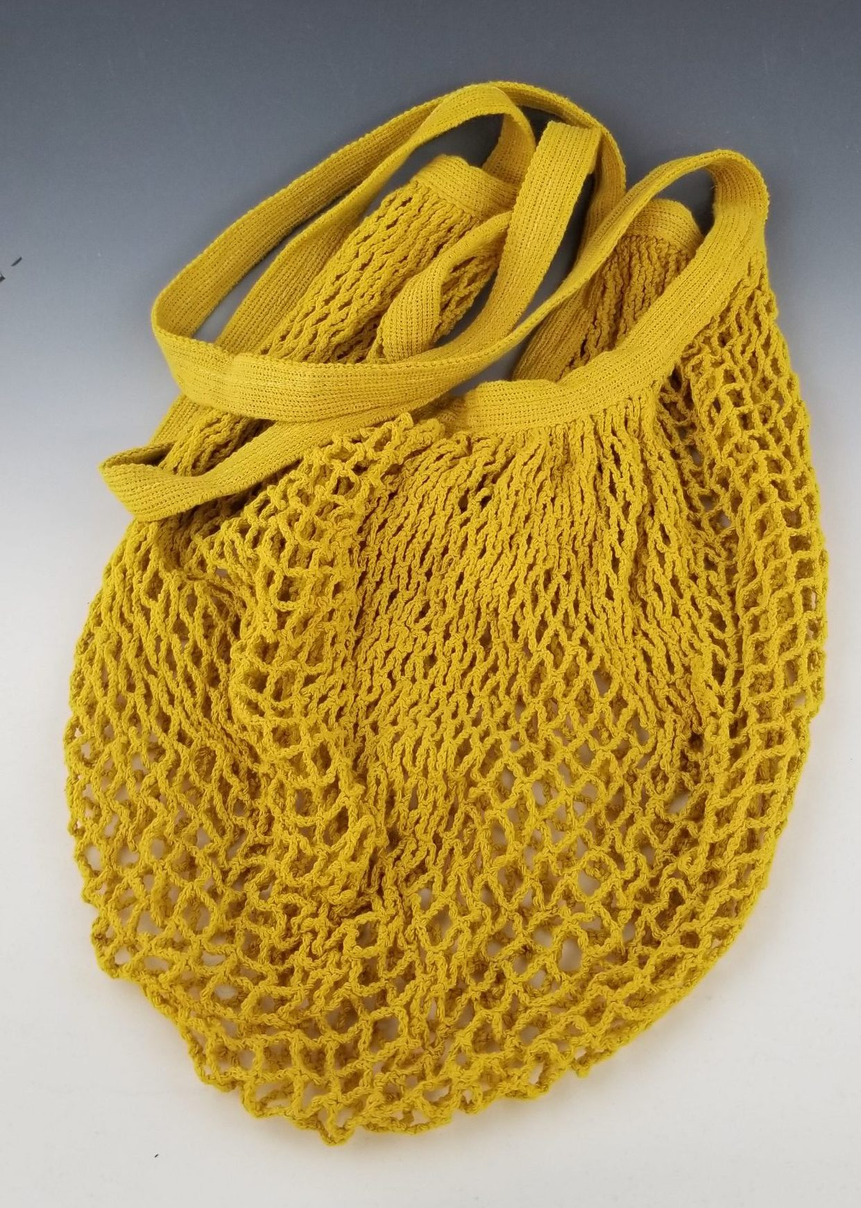Yellow Cotton Market Bag with Long Handles