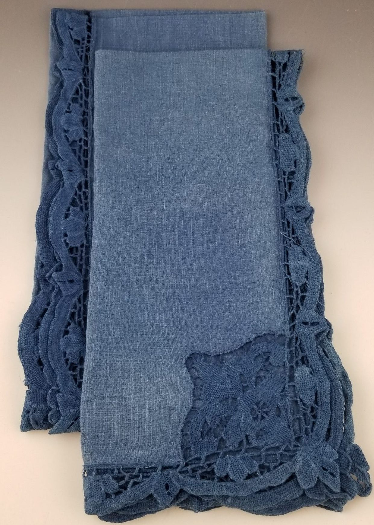 Indigo Dyed Repurposed Linen napkins pair