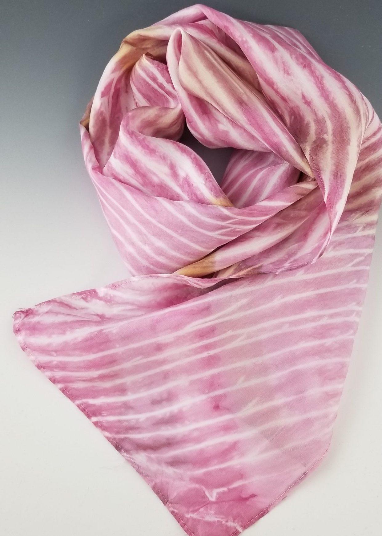 Habotai Silk Scarf Arashi-pink