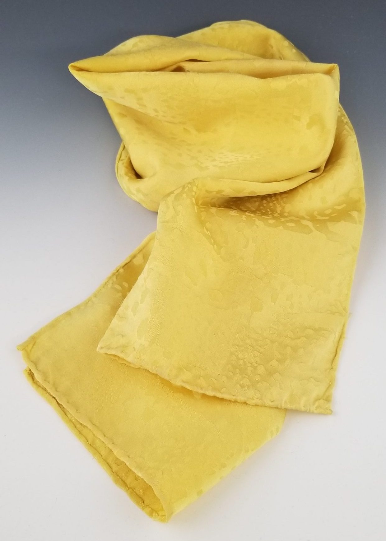Yellow Jacquard Silk Scarf