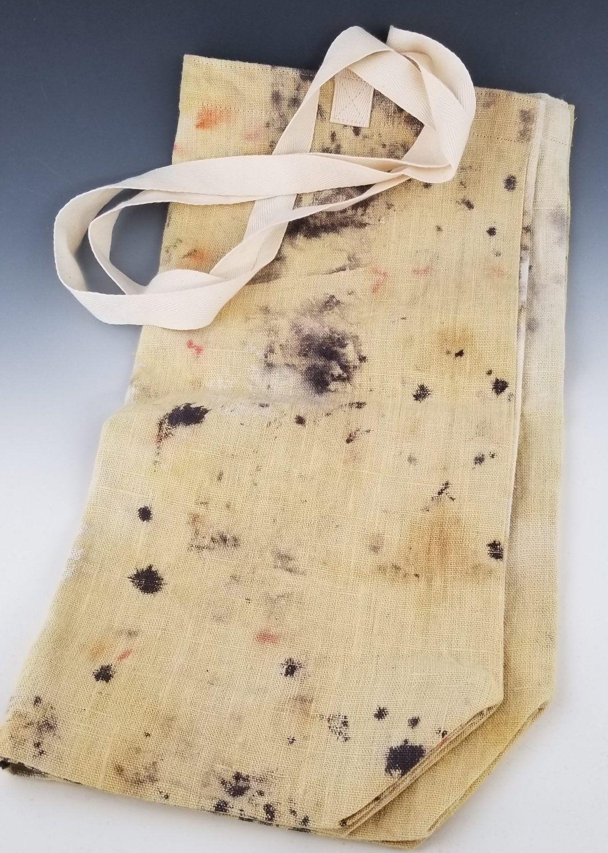 Large Linen Canvas Bag, Eco Printed