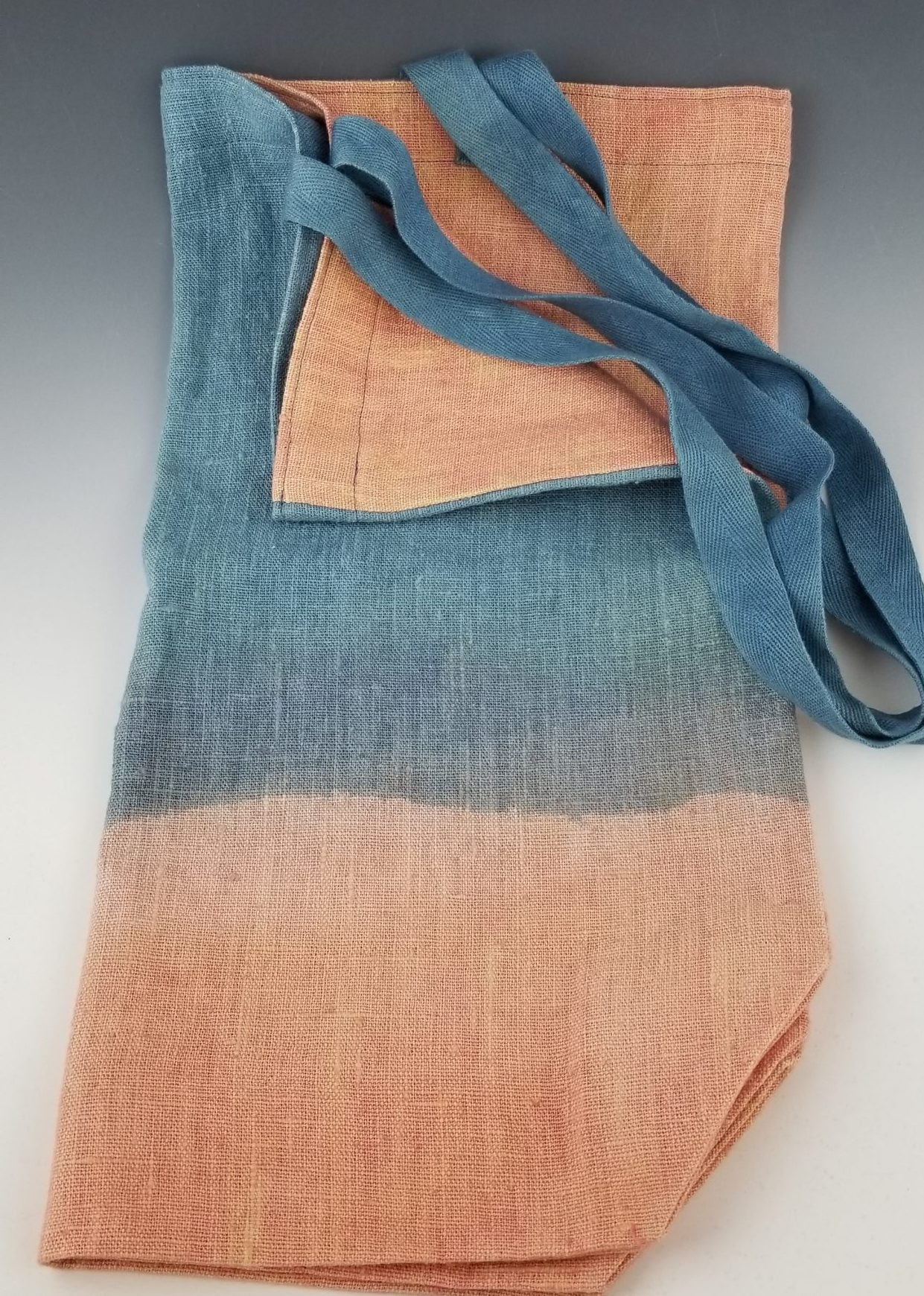 Large Linen Canvas Bag, indigo and peach